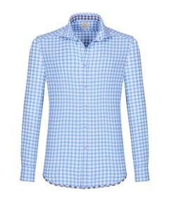 Camicia trendy luxury vintage azzurra a quadri bianchi, extra slim francese_0