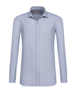 CAMICIA TRENDY BLU NAVY A RIGHE BIANCHE, EXTRA SLIM FRANCESE_0